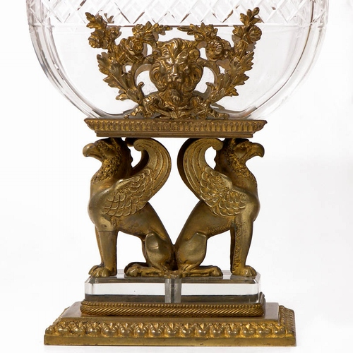 Magnificent Sgd French Bronze Griffin Cut Crystal Table Vase