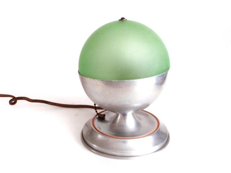 Art Deco 1930s Green Glass Chrome  Depression Era Lighting