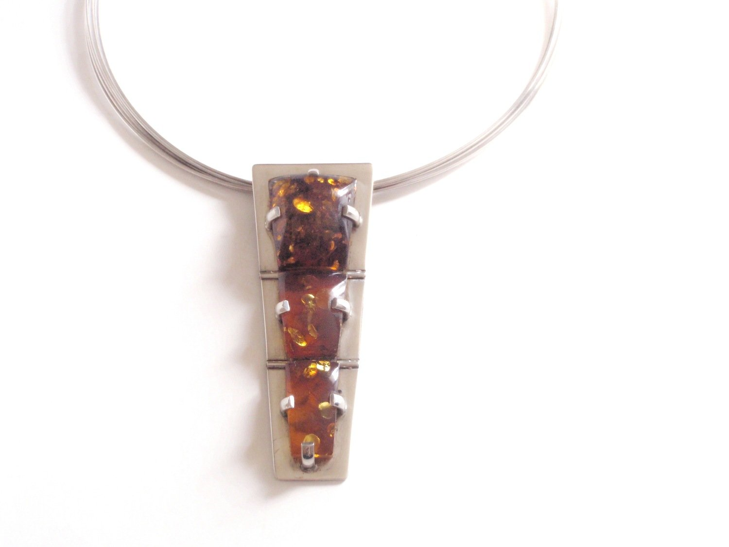 MCM 3 Section Hinged Amber Necklace Hard Wire Chain