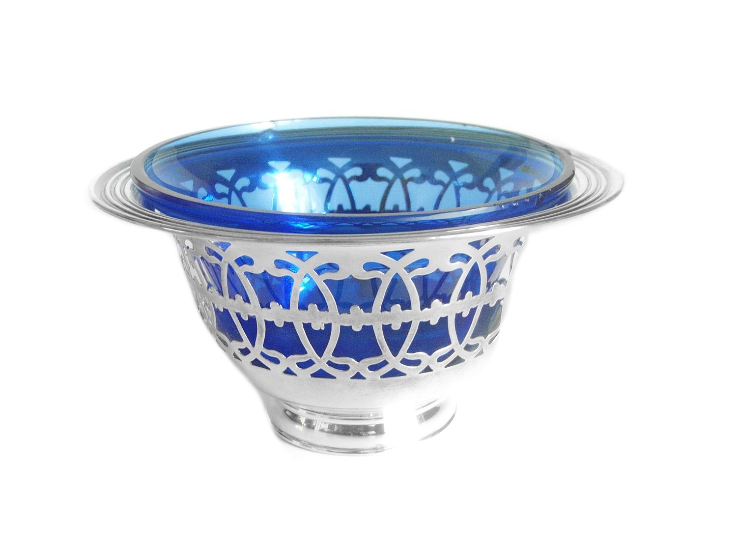 Art Deco Ryrie Cobalt Glass Pierced Silver Candy Nut Ring Dish