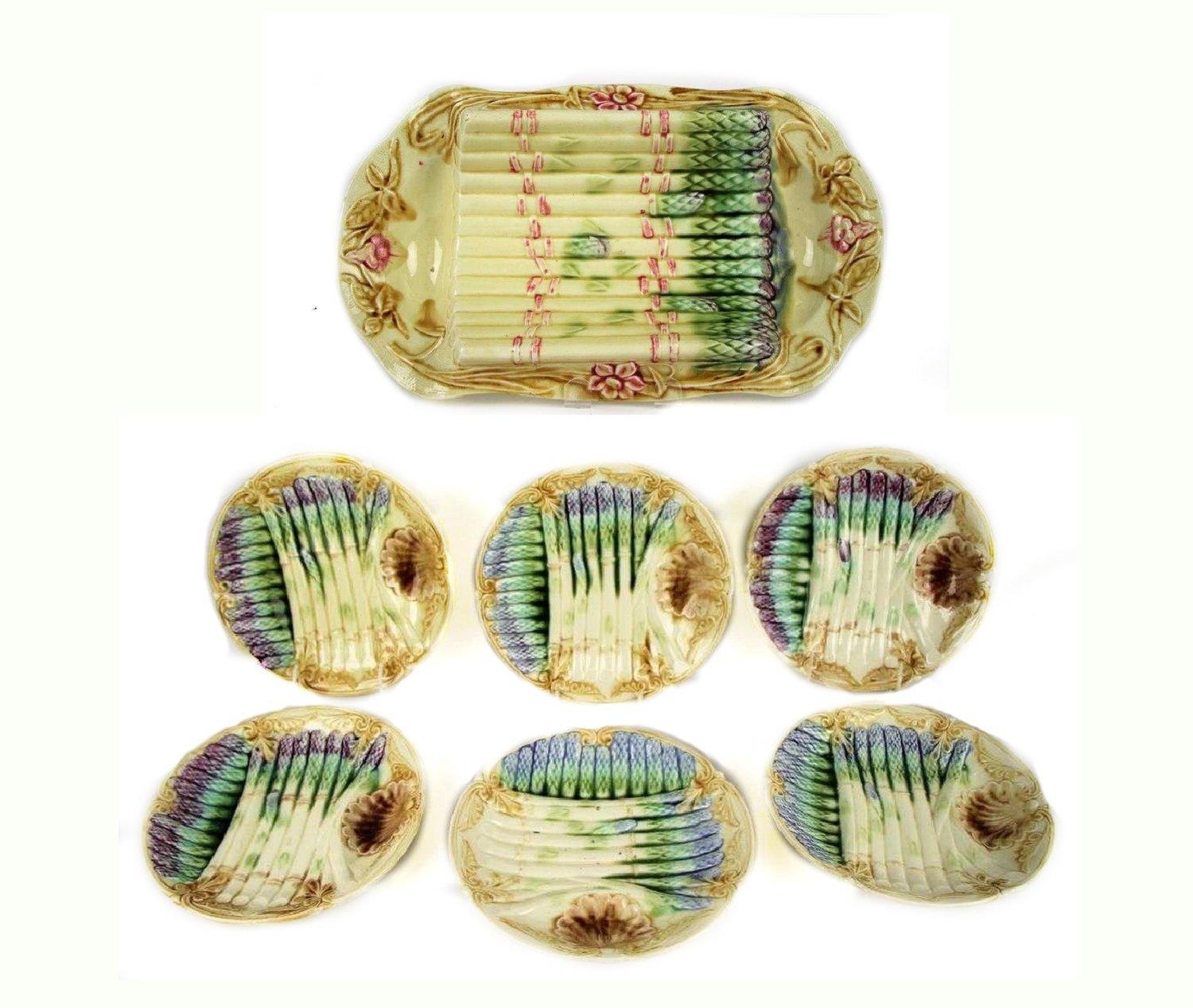 Onnaing French Majolica Asparagus Server and 6 Plates