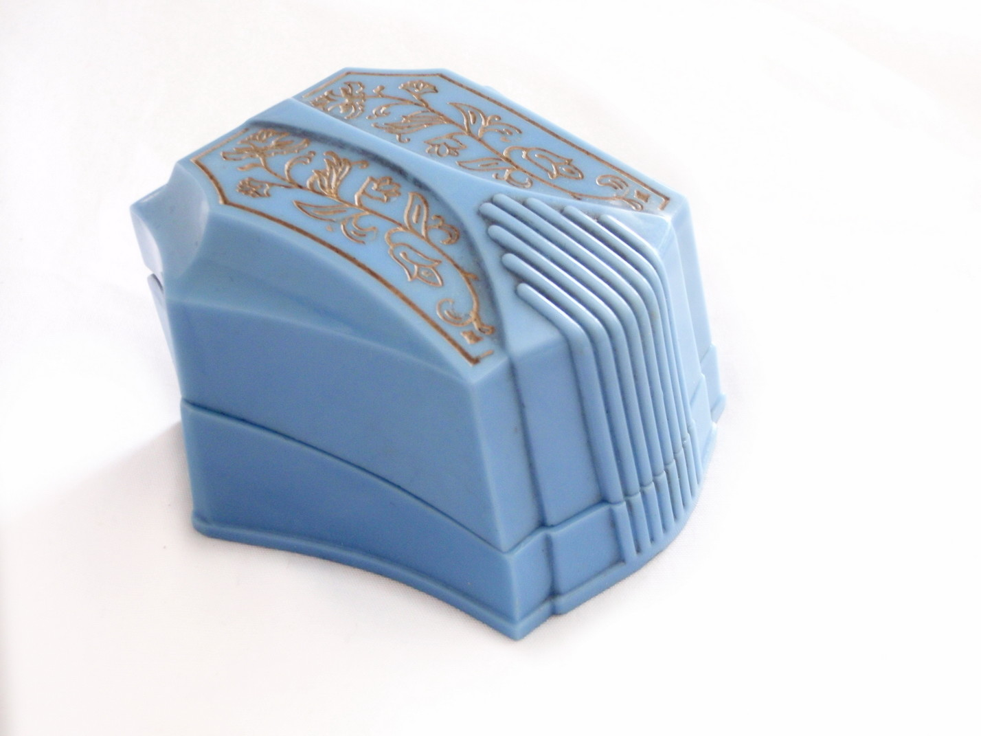 Art Deco Blue Cellluloid Plastic Ring Box Gold Floral Embossed