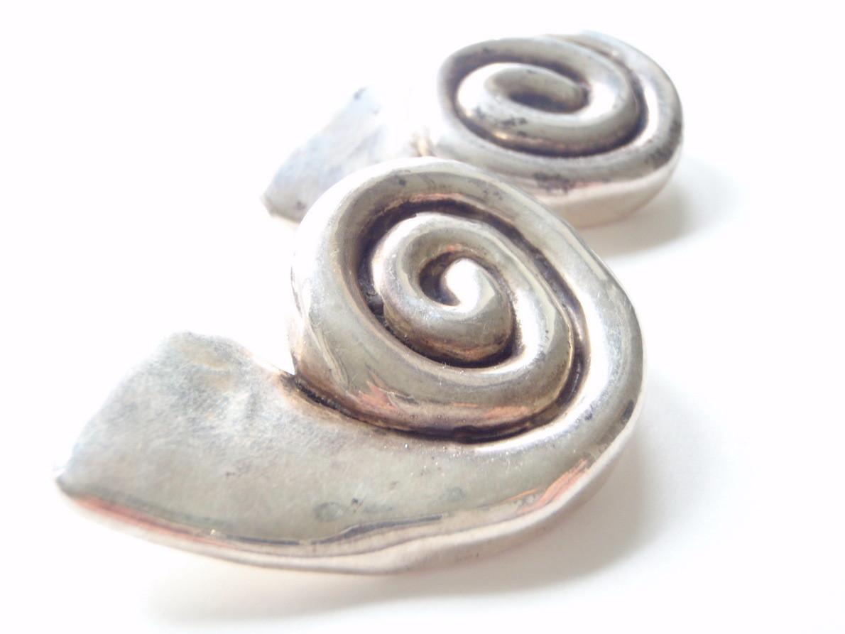 Bat Ami Vintage 1980's Designer Earrings Israeli Silver Modernist