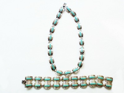 Taxco Mexico Silver Turquoise Necklace Double Wide Bracelet