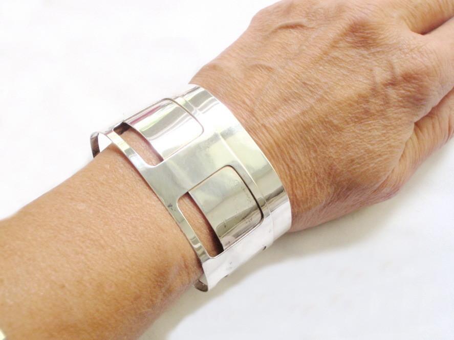 1960s Silver Ed Weiner Style Cuff Bracelet