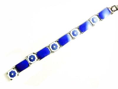 David Andersen Sterling Intricate Guilloche Enamel Link Bracelet