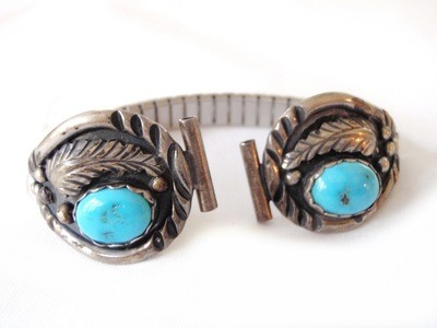 Old Navajo Signed E. Spencer Turquoise Silver Watch Band