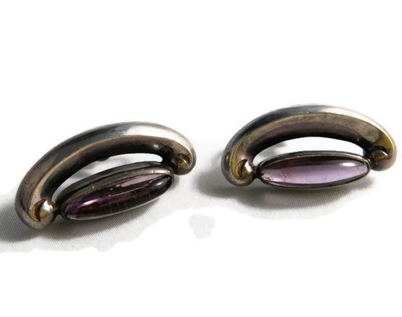 Art Deco Antonio Pineda Sterling and Amethyst Earrings