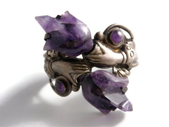 Art Deco Silver Reticulated Carved Amethyst Bracelet