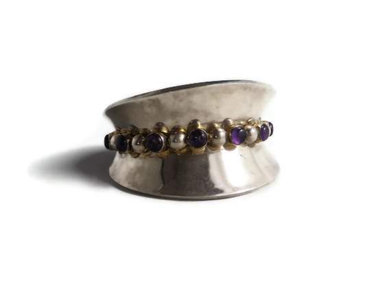 Vintage Taxco Mexico Cabochon Amethyst Cuff Bracelet