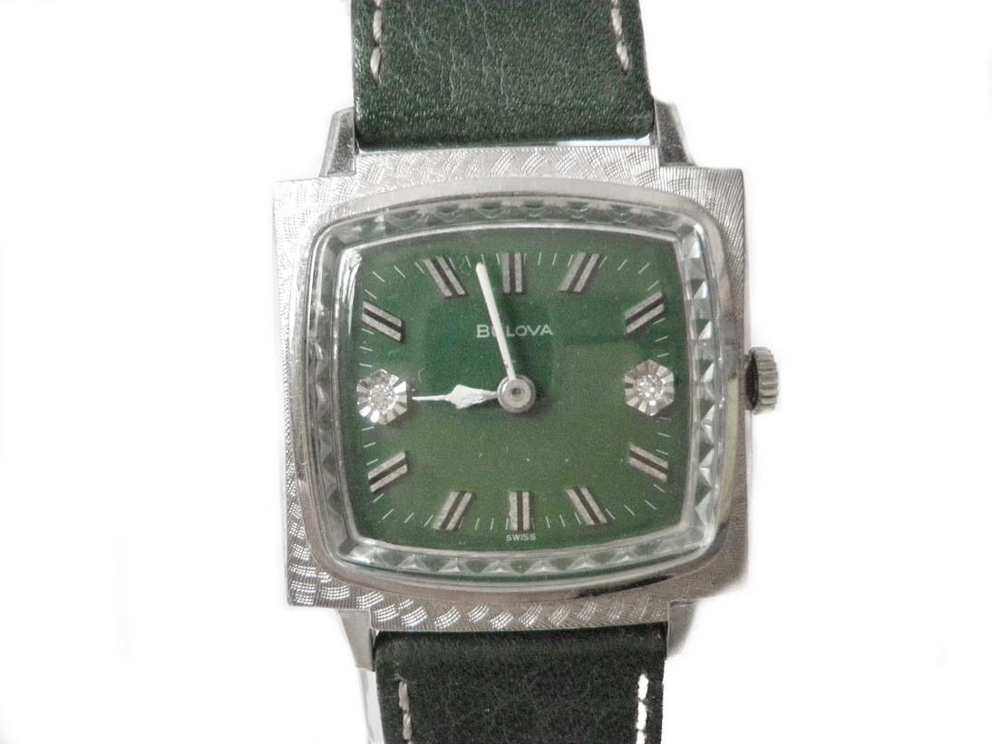 1966 Bulova Excellency TV Screen Case Watch Florentine Bezel Diamonds
