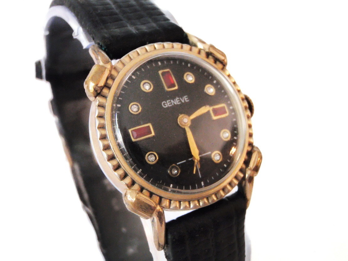Vintage Geneve Watch Black Diamond Ruby Dial Crimped Bezel