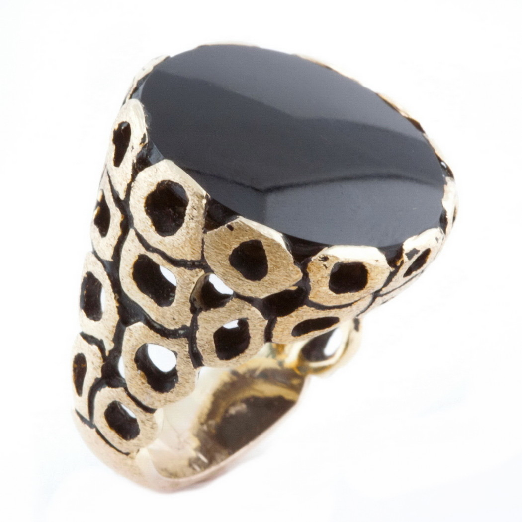 HUGE Mid Century 14k Gold Brutalist Onyx Designer Ring