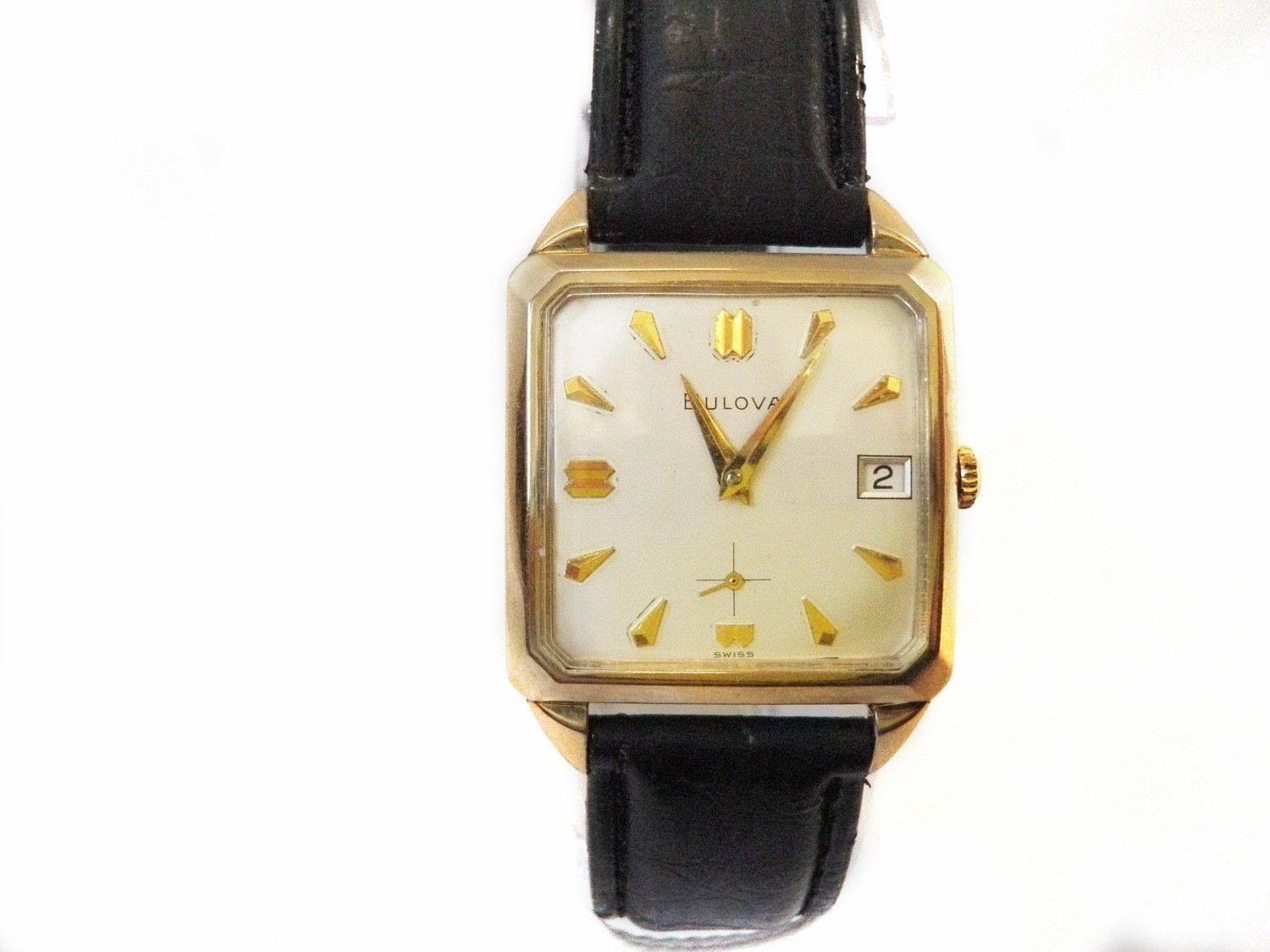 1964 Bulova Square Watch Faceted Corners Watch Sub-seconds 10k Gold Plate