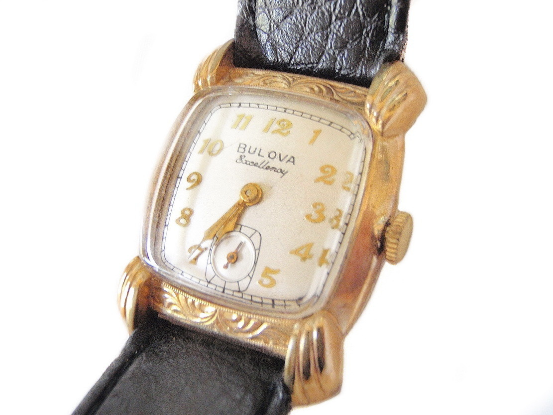 Vintage 1950 Bulova Excellency Watch Etched Case