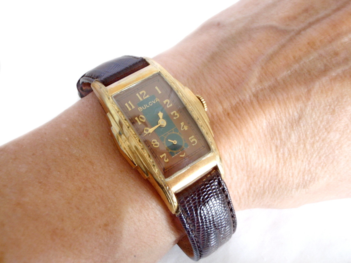 1930s RARE Two-Tone Bulova Watch Etched Step Case
