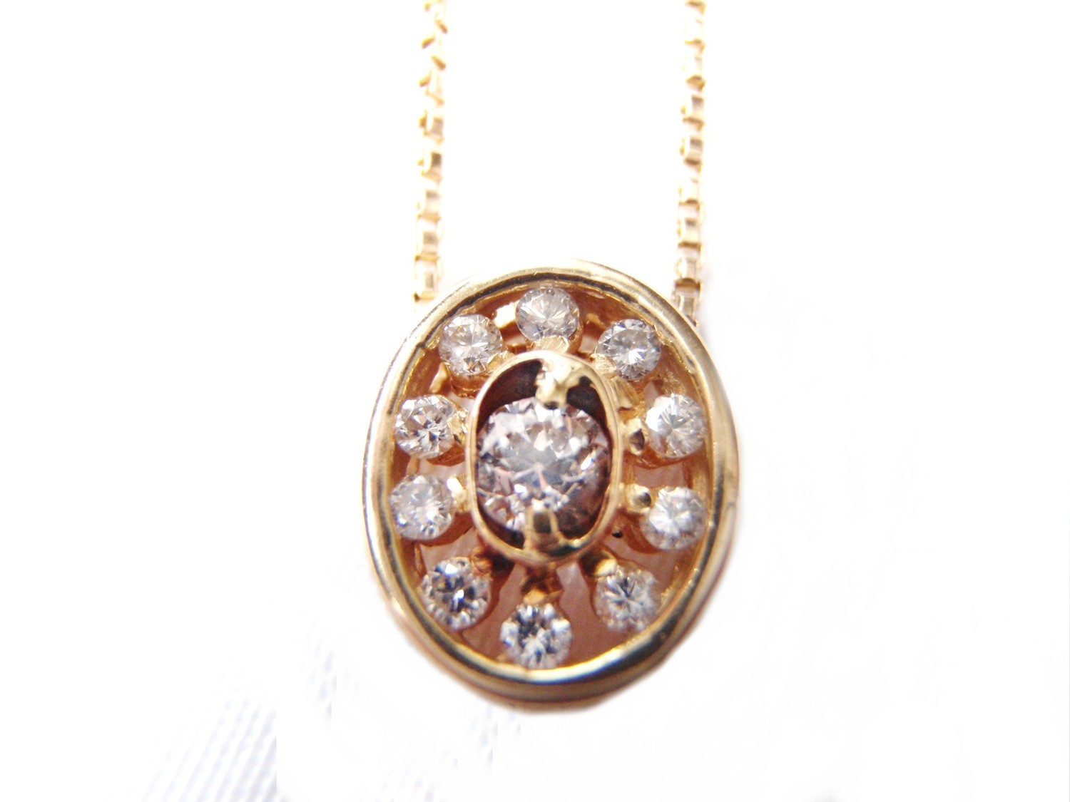11 Diamond Gold Pendant 14k Gold Necklace with Chain