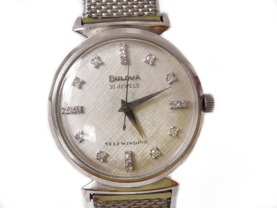 Solid14k White Gold Bulova Watch, 20 Diamonds