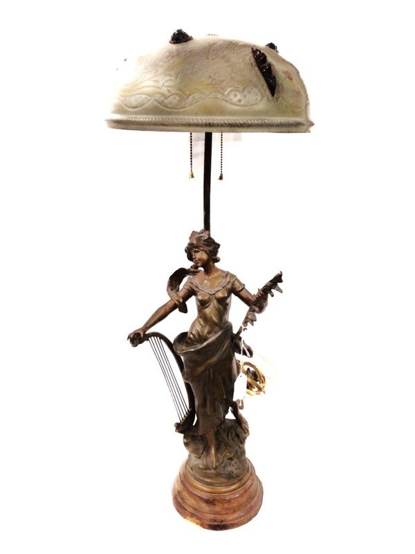 Art Nouveau Lady with Lyre Lamp RARE Etched Dome Shade Glass Fragments