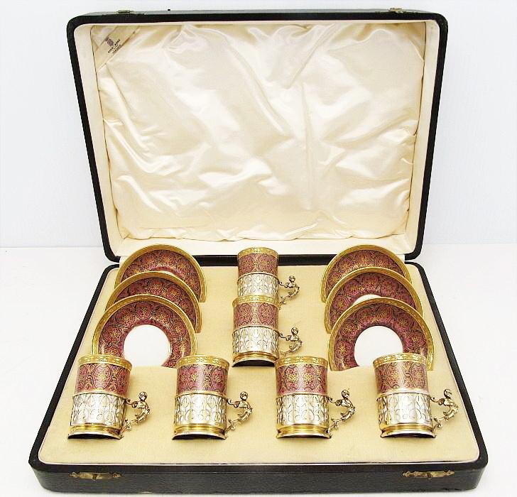 1924 Addie Bros Silver Cherub Limoges Porcelain Espresso Set