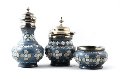 Royal Doulton Lambeth Pottery Silver 3pc Cruet Set Blue Glaze 1880's