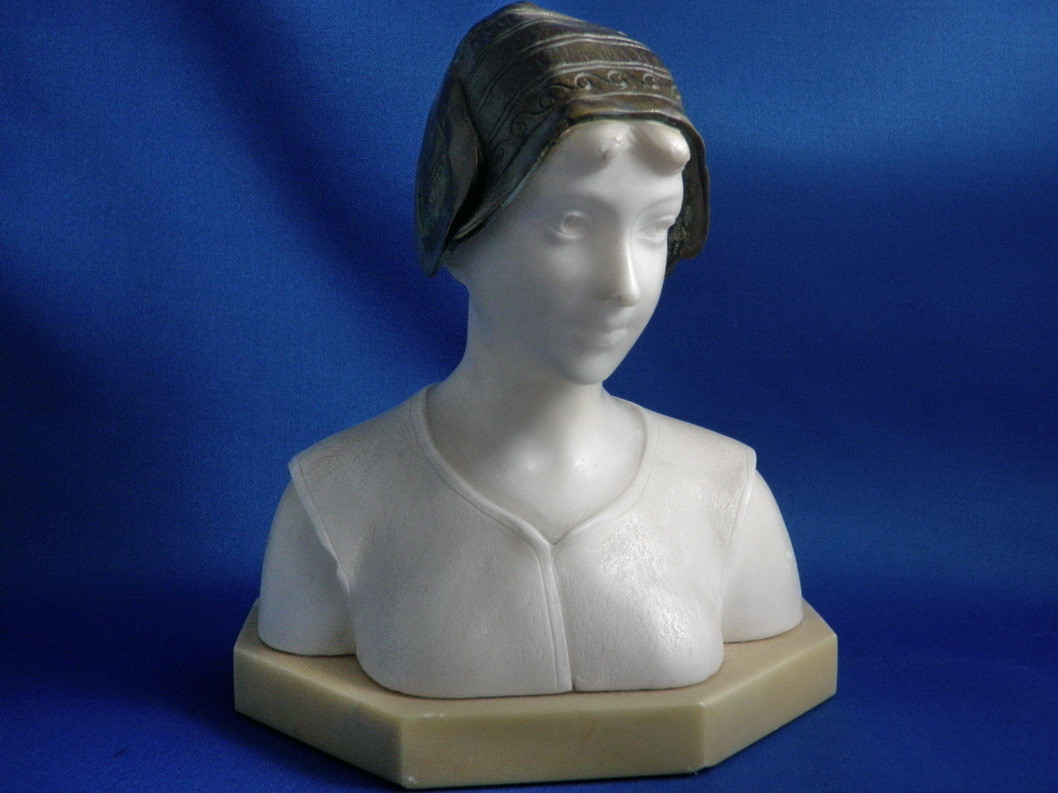 1800's Carved Marble and Bronze Young Woman Bust Sculpture by Schmidt