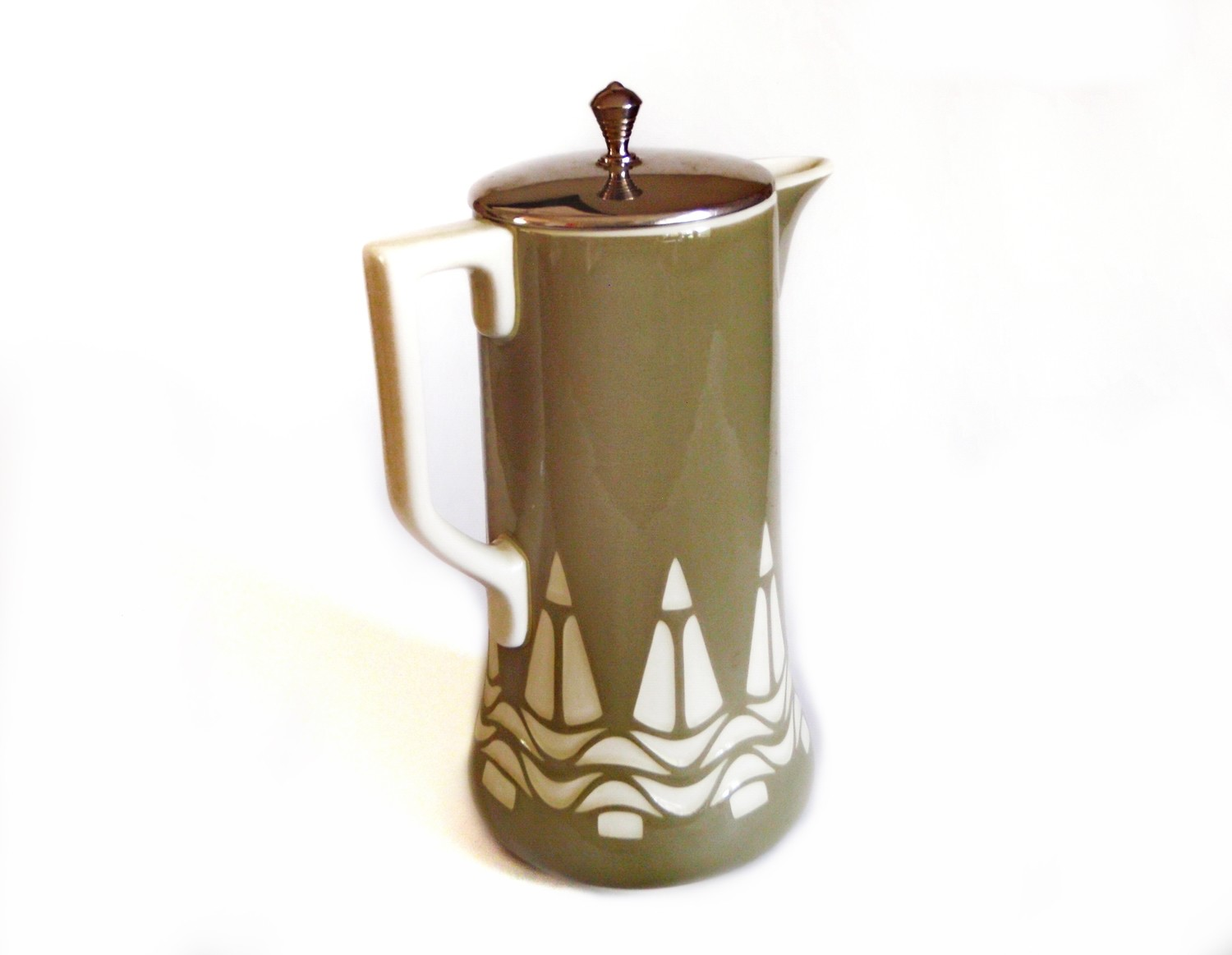 Antique Villeroy and Boch Chocolate Pot Jugendstil Stoneware Jug with Lid - Sage Green