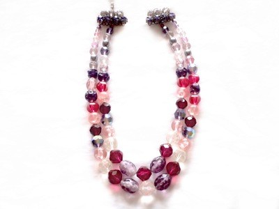 Vintage Sg'd Austrian Pink Purple Crystal Double Strand Necklace