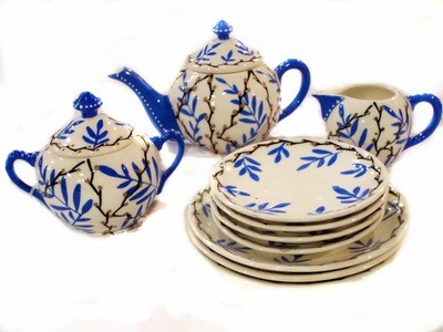 Art Deco Hand Painted Czech Dessert Set w/Teapot Cream Sugar Plates
