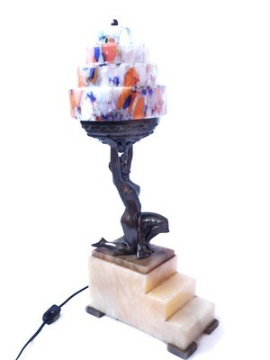 Art Deco 1920s Flapper Table Lamp, Czech Spatter Skyscraper Shade