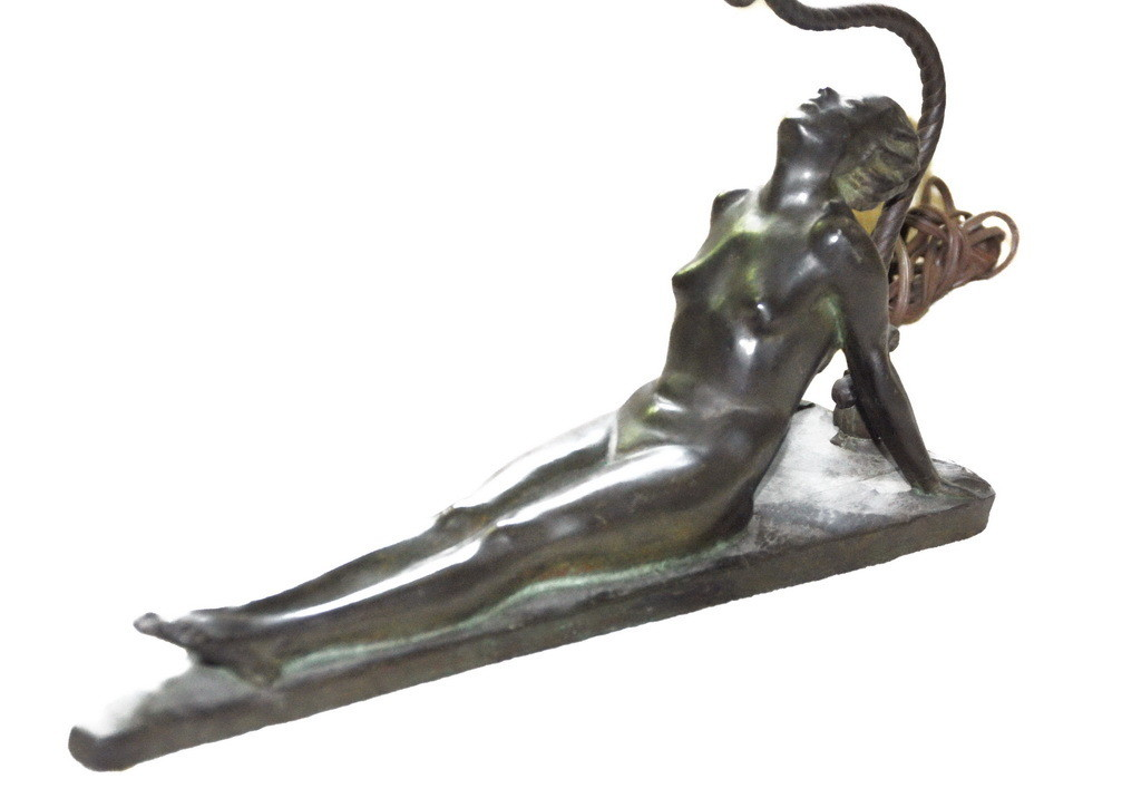 1926 Art Deco Reclining Nude Table Lamp by Electrolite Signed