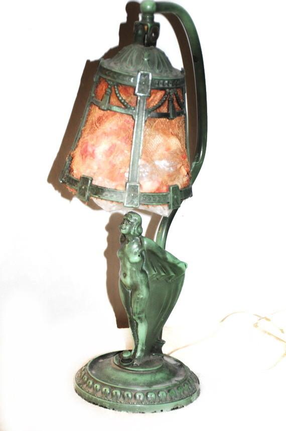 1922 Ronson Bat Woman RARE Lamp Green Patina