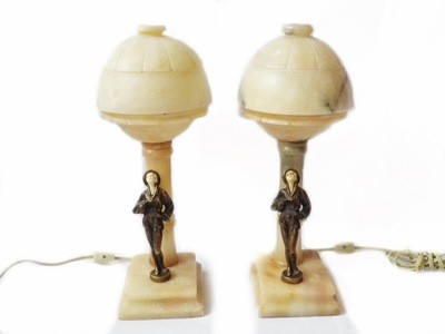 RARE Harlequin Art Deco Alabaster Table Lamps Original Dome Shade