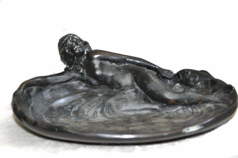 Art Deco French Nude Mermaid Vide Pouche Vanity Trinket Tray