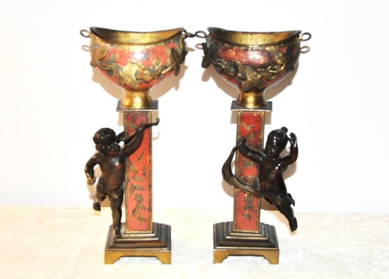 RARE Victorian Bronze Gilt Polychromed Cherub Cherubim Compotes Mantle Urns Planters