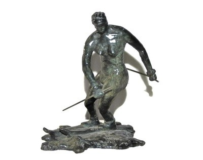Art Deco Bronze Nude Woman Skier Impressionist Sculpture Signed
