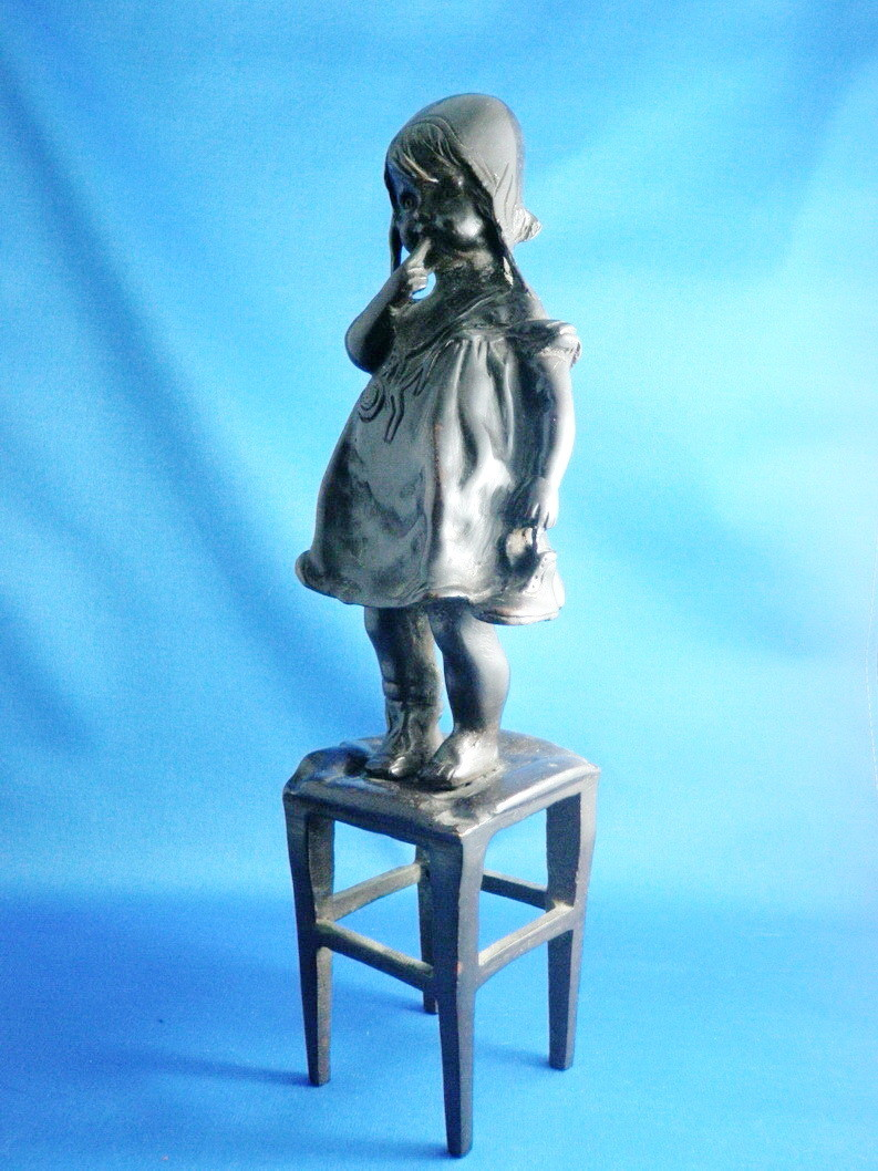 Juan Clara Bronze Little Girl on Stool Sculpture 12 Inches