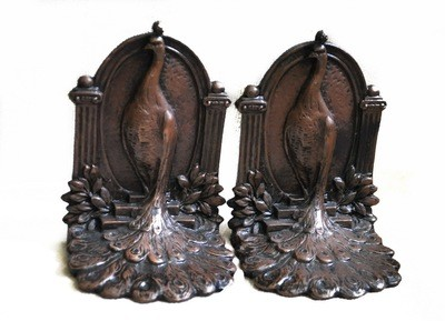 Art Nouveau Signed Weidlich Brothers Bronzed Pair (2) Peacock Bookends