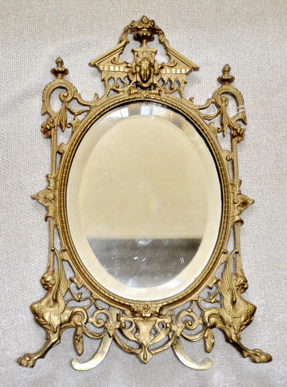 1800's French Phoenix Griffin Bronze Gold Gilt Table Mirror