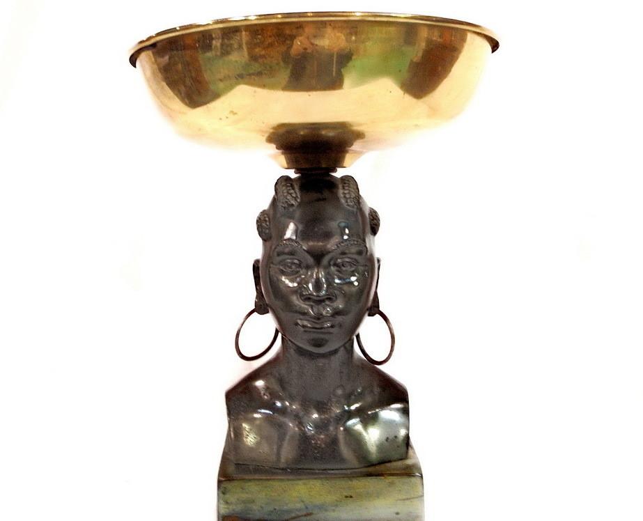 Art Deco African Lady Centerpiece Brass Bowl Geo Trevino