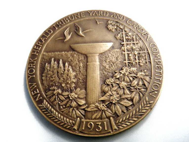 1931 Art Deco New York Herald Tribune Garden Competition Bronze Medal Sg'd