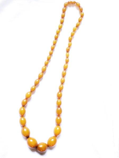 Art Deco Oblong Bead Butterscotch Bakelite 30 In Necklace