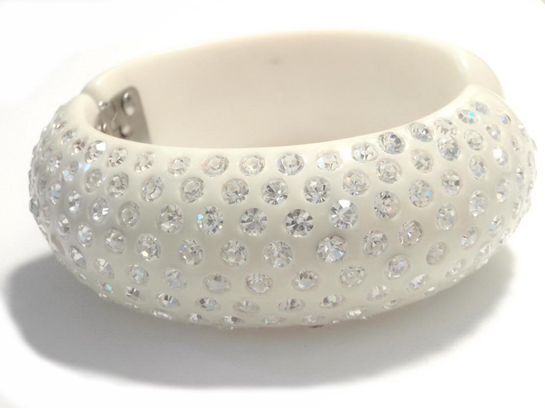 Swarovski Crystal Bangle Bracelet Set in White Bakelite
