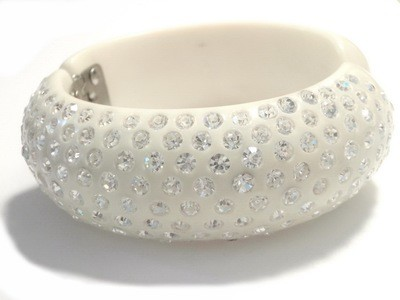 Swarovski Crystal Bangle Bracelet Set in White Bakelite