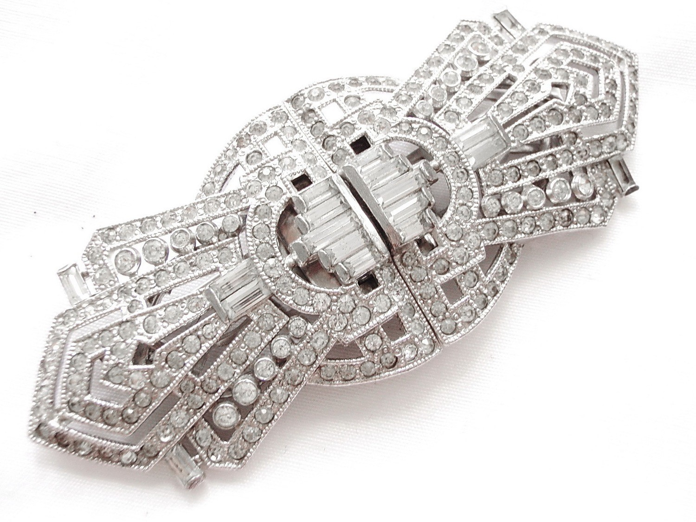 Art Deco Rhinestone Duette Clip, Fur Clips 1920s Wedding Bridal