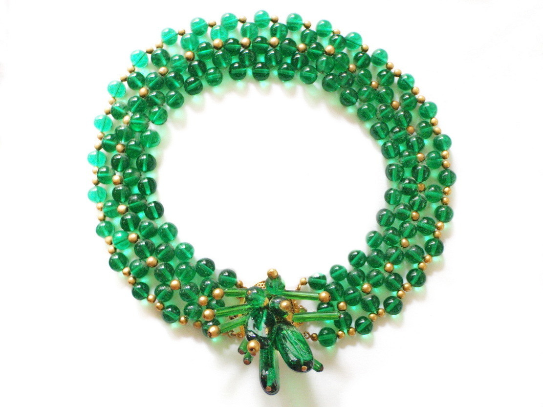 French Art Deco Green Glass Bead Multi Strand Choker  Necklace