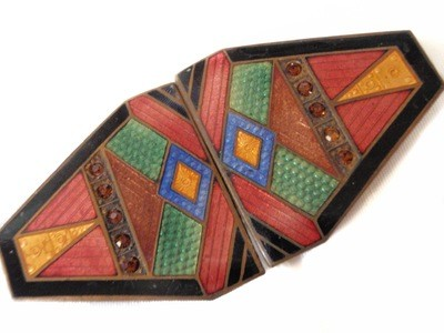 Art Deco Multi-Coloured Guilloche Enamel Amber Rhinestone Buckle