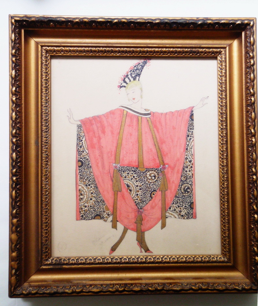 Genuine Art Deco Theatre Costume Painting 1920s Hand Detailed