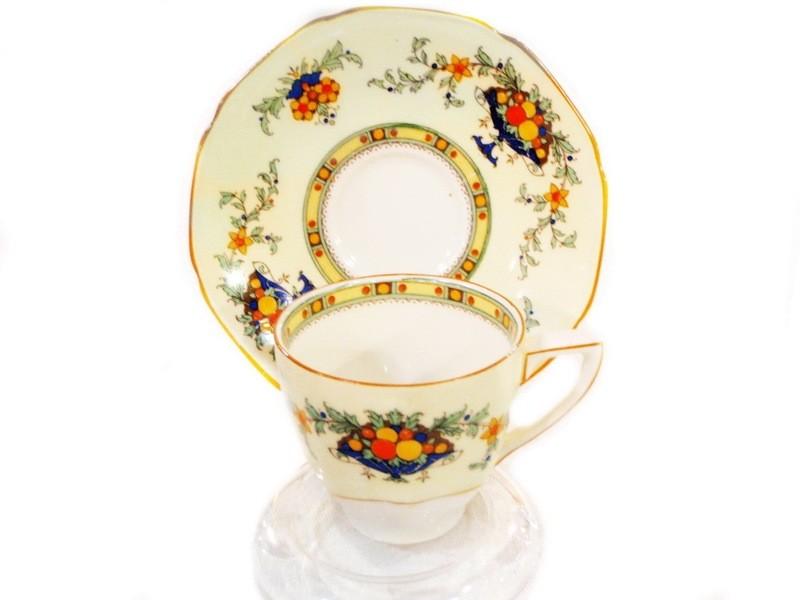 2 Art Deco Crown Ducal Ware Demitasse Espresso Cup Saucer A1476