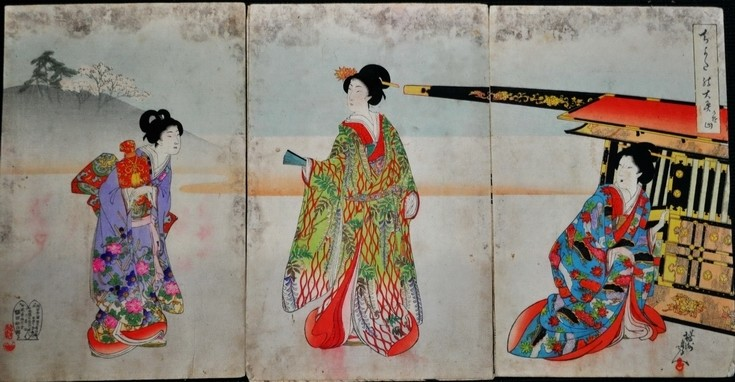 Toyohara Chikanobu 1890s Geisha Courtesan Painted Woodblock Watercolor